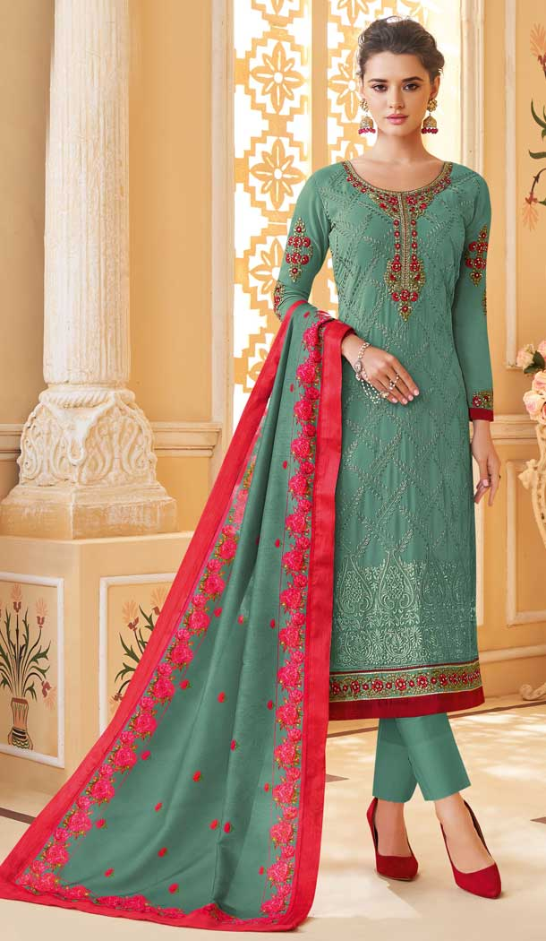 Sea Green Color Heavy foux Georgette Casual Wear Readymade Suit -736091113