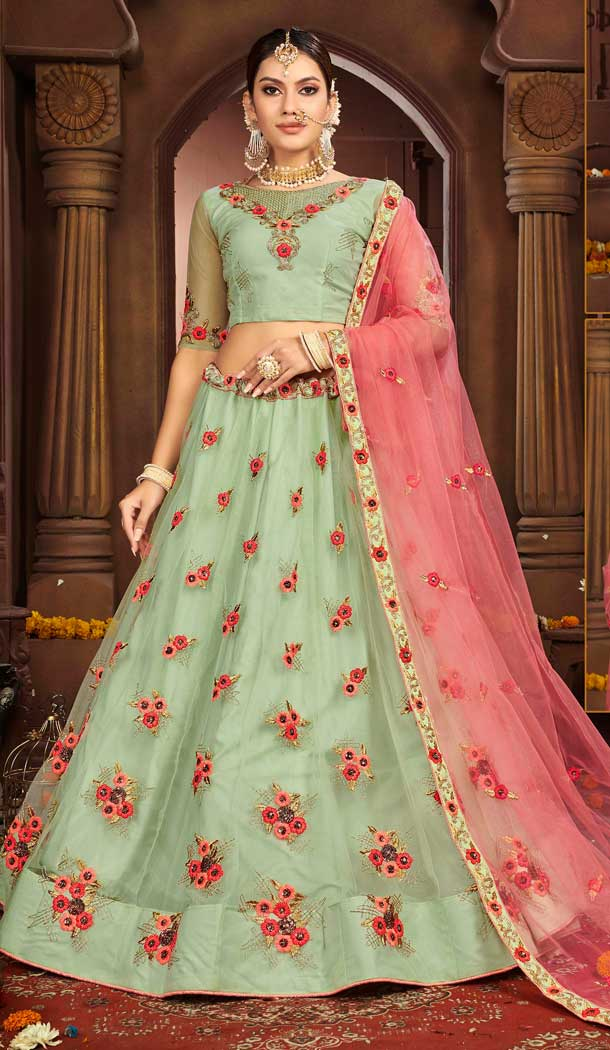 Gorgeous Green Color Net Designer Sangeet Ceremony Wear Lehenga Choli -737191201