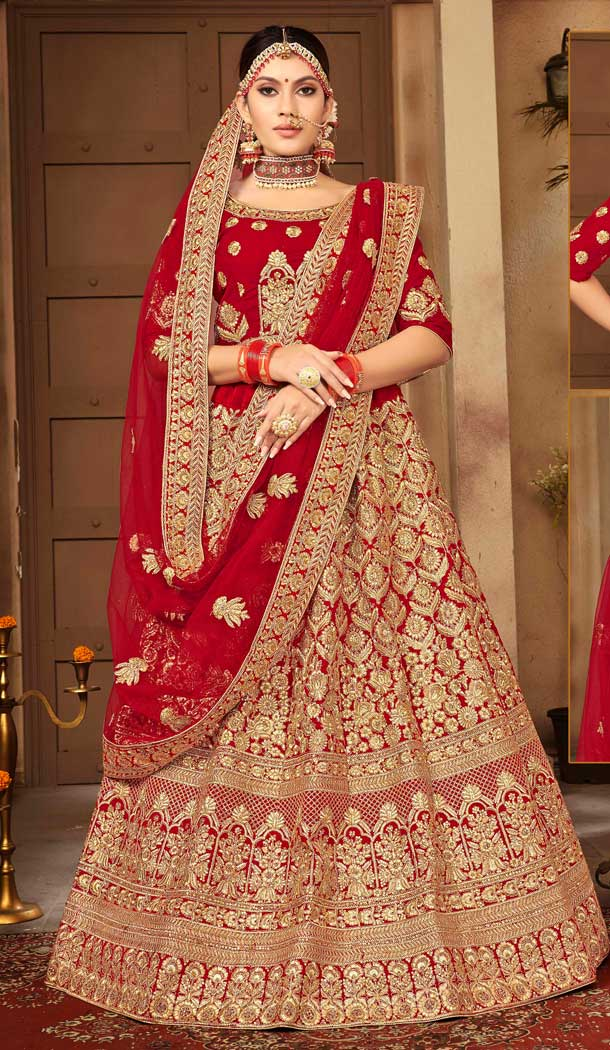 Red Color Velvet Designer Sangeet Ceremony Wear Lehenga Choli -737191203