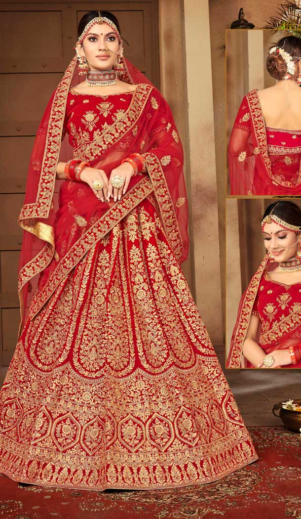Red Color Velvet Designer Sangeet Ceremony Wear Lehenga Choli -737191204