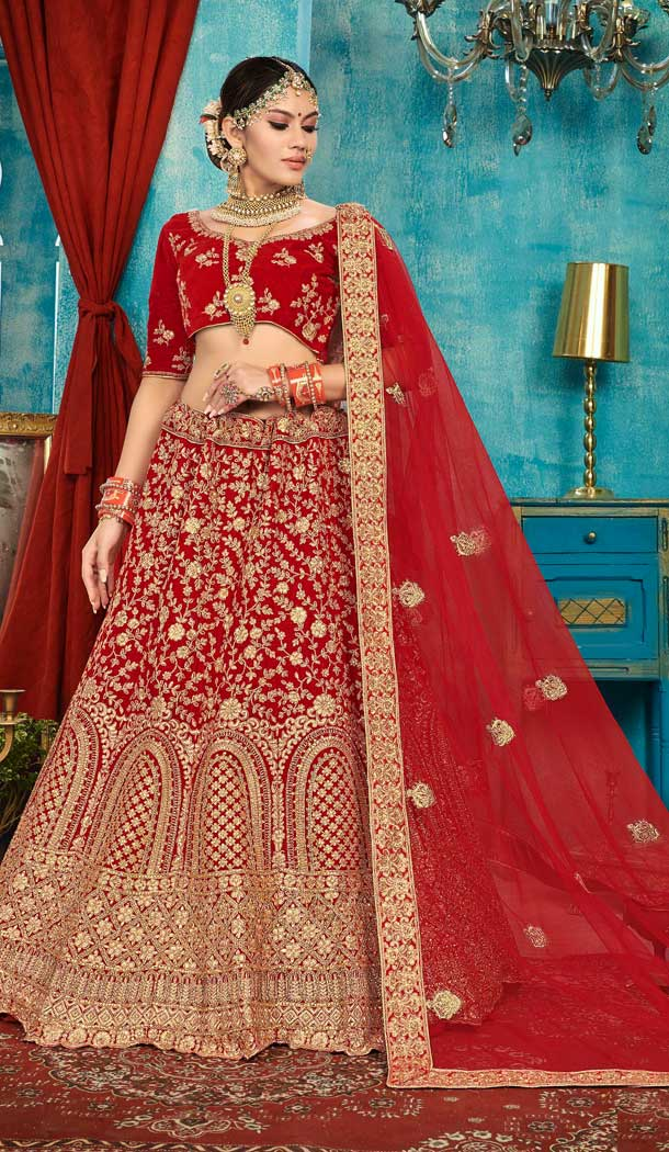 Red Color Velvet Designer Sangeet Ceremony Wear Lehenga Choli -737191206