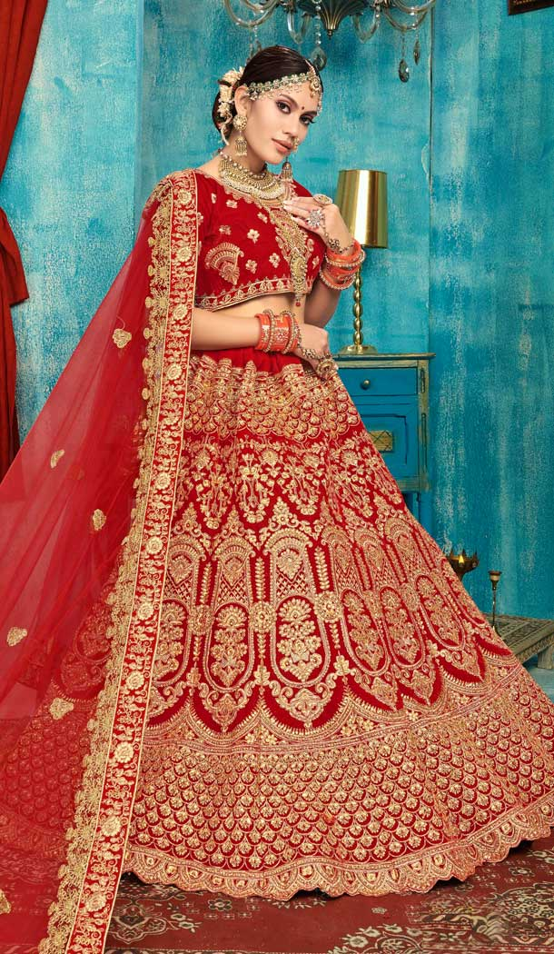 Red Color Velvet Designer Sangeet Ceremony Wear Lehenga Choli -737191207