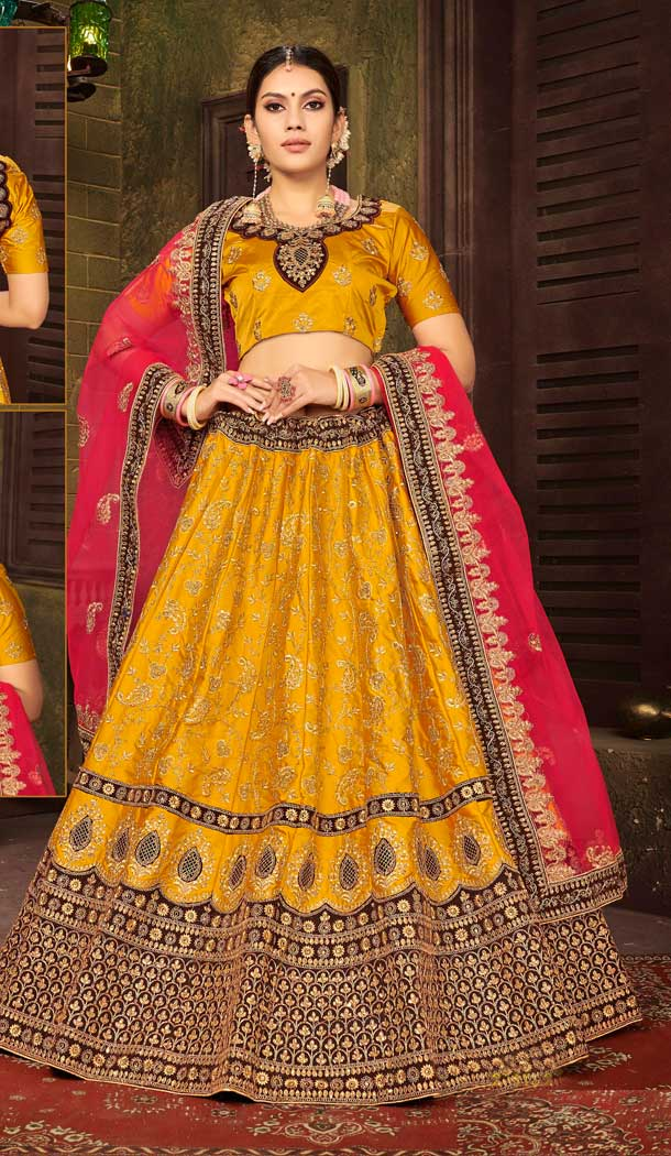 Yellow Color Satin Silk Designer Sangeet Ceremony Wear Lehenga Choli -737191210