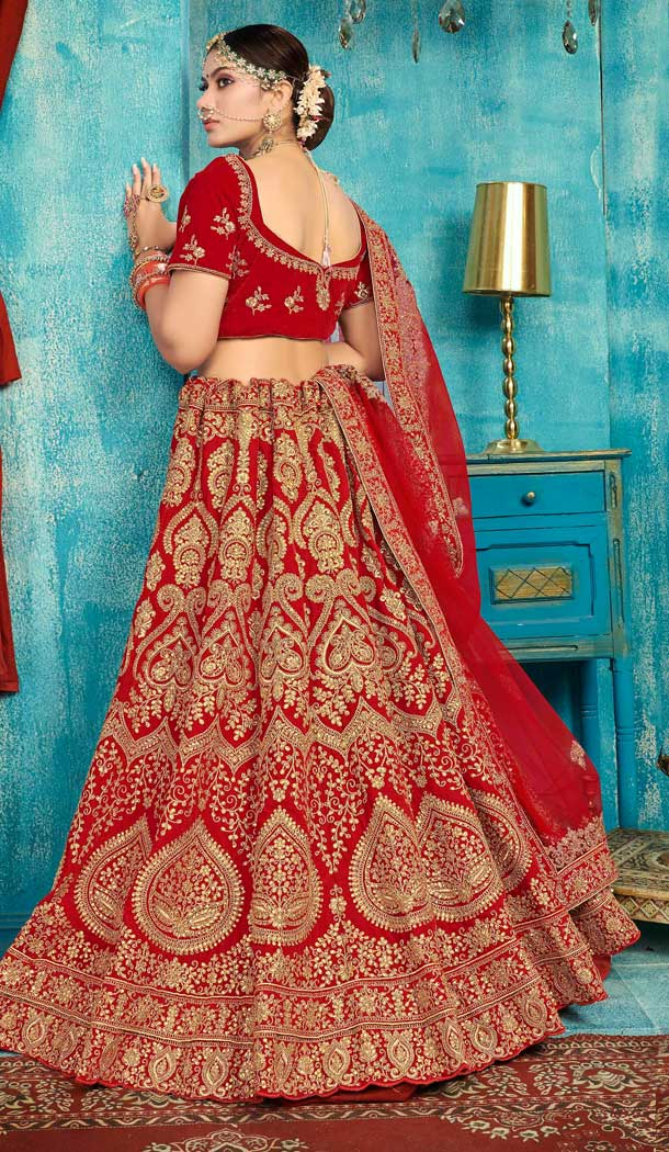 Red Color Velvet Designer Sangeet Ceremony Wear Lehenga Choli -737191211