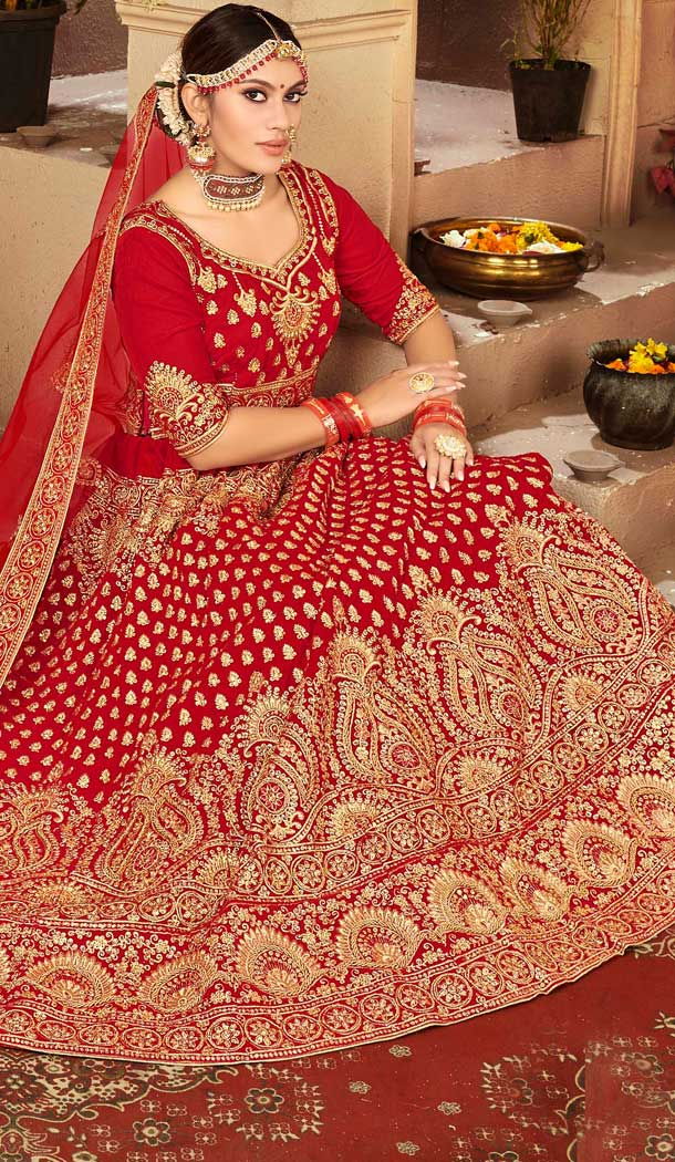Red Color Velvet Designer Sangeet Ceremony Wear Lehenga Choli -737191212