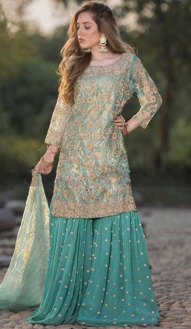 unstitched embroidery heavy net sharara suit