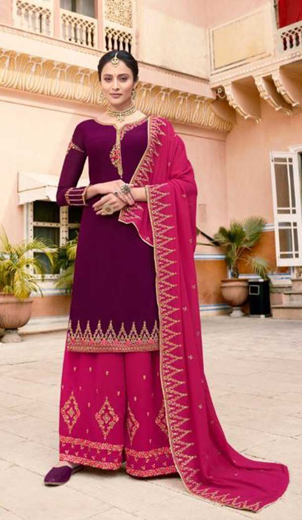 Violet Color Soft Georgette Embroidery Party Wear Palazzo Suit -741191662