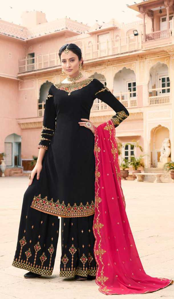 Black Color Soft Georgette Embroidery Party Wear Palazzo Suit -741191664