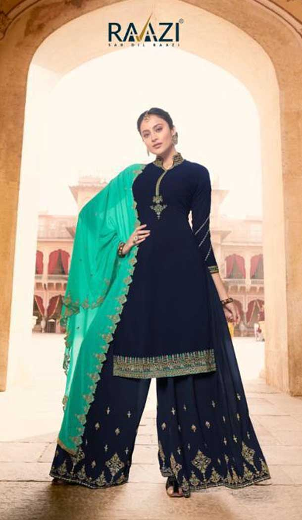 Navy Blue Color Soft Georgette Embroidery Party Wear Palazzo Suit -741191668