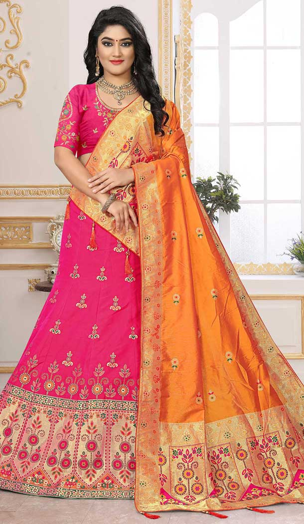 Adorable Pink Silk Jacquard Designer Bridal Wear Lehenga Choli -741491704