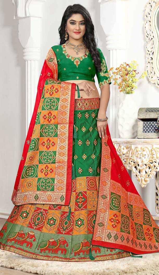 Green Color Silk Jacquard Designer Bridal Wear Lehenga Choli -741491705