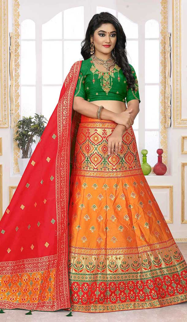 Orange Color Silk Jacquard Designer Bridal Wear Lehenga Choli -741491706