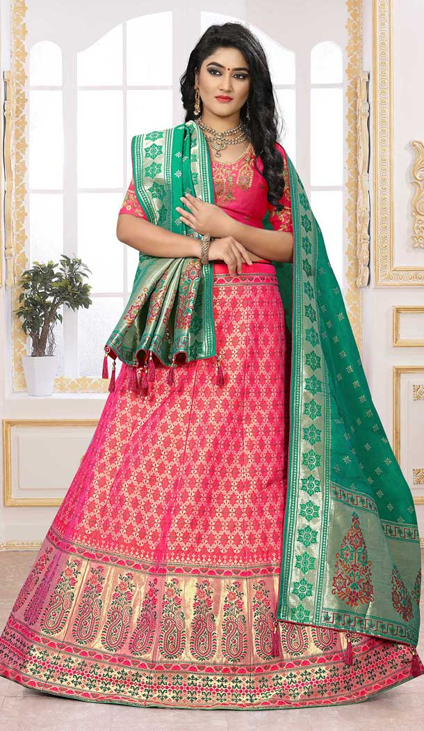 Divine Pink Color Silk Jacquard Designer Bridal Wear Lehenga Choli -741491707