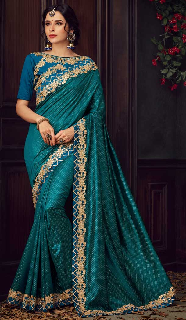 Adorable Teal Blue Color Poly Silk Traditional Party Wear Saree Blouse -733690883