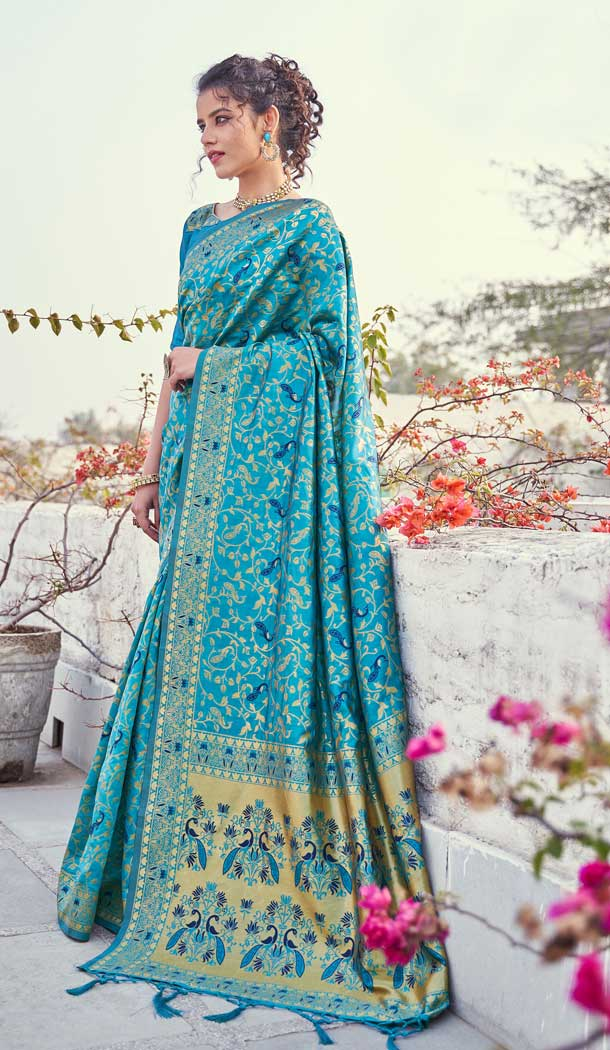 Adorable Sky Blue Color Banarasi Art Silk Traditional Party Wear Saree -736191126
