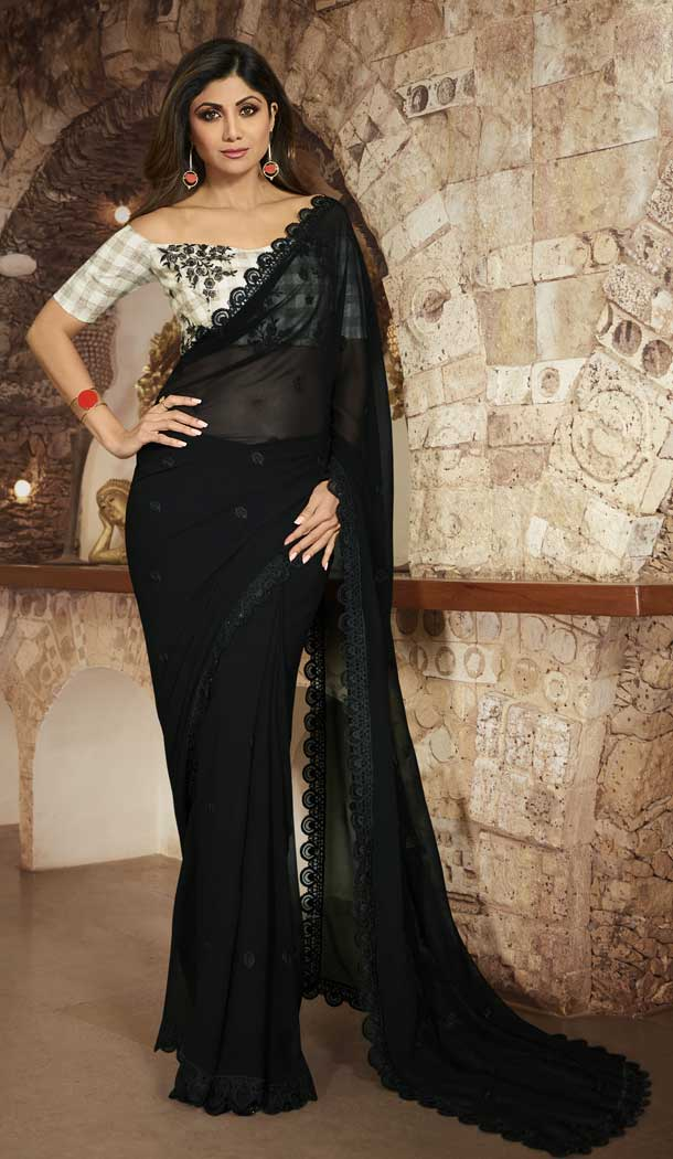 Black Color Barfi Silk Bollywood Actress Shilpa Shetty Style Saree -742191795