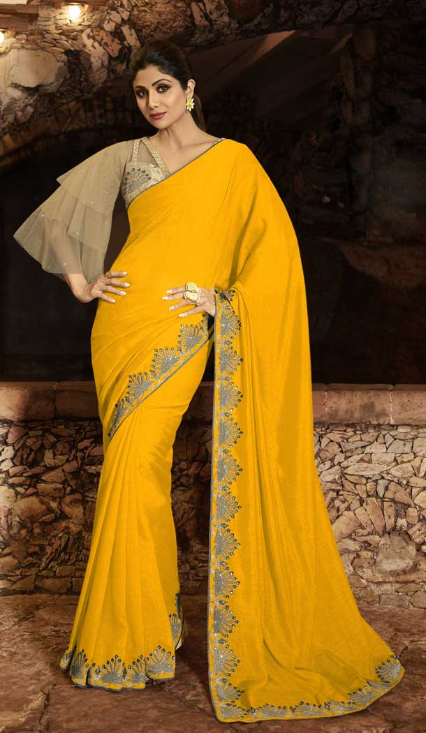 Yellow Color Barfi Silk Bollywood Actress Shilpa Shetty Style Saree -742191802