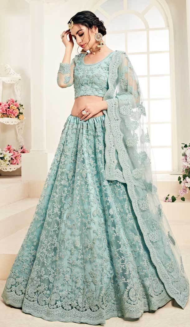 Aqua Blue Color Net Designer Embroidred Plus Size Lehenga Choli -742591829