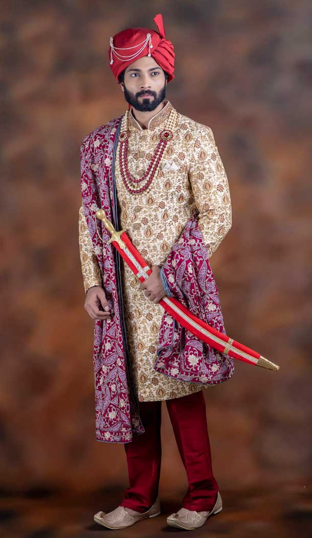 Attractive Cream Color Jacquard Designer Wedding Plus Size Men Sherwani -741991755