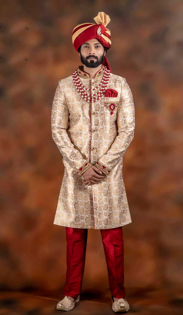 Exotic Gold Color Jacquard Designer Wedding Plus Size Men Sherwani -741991765