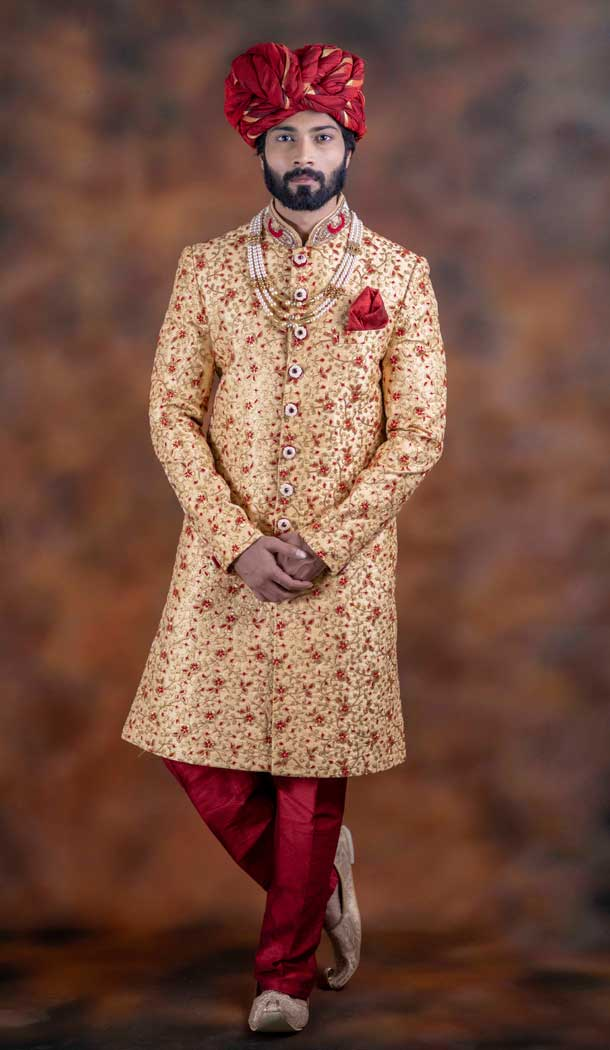 Majesty Gold Color Jacquard Designer Wedding Plus Size Men Sherwani -741991767