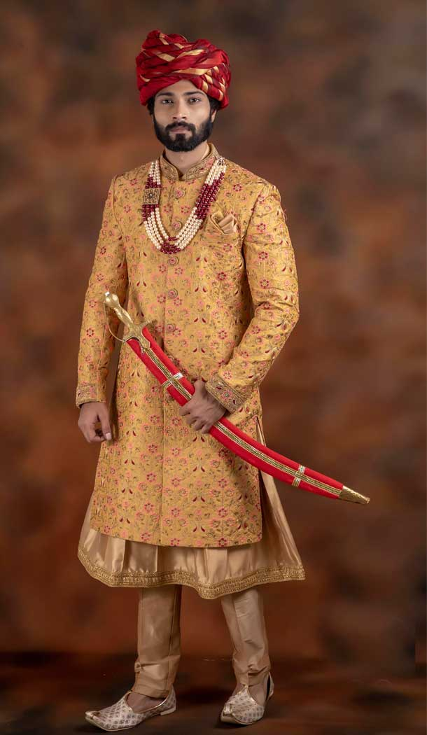 Yellow Gold Color Jacquard Designer Wedding Plus Size Men Sherwani -741991771