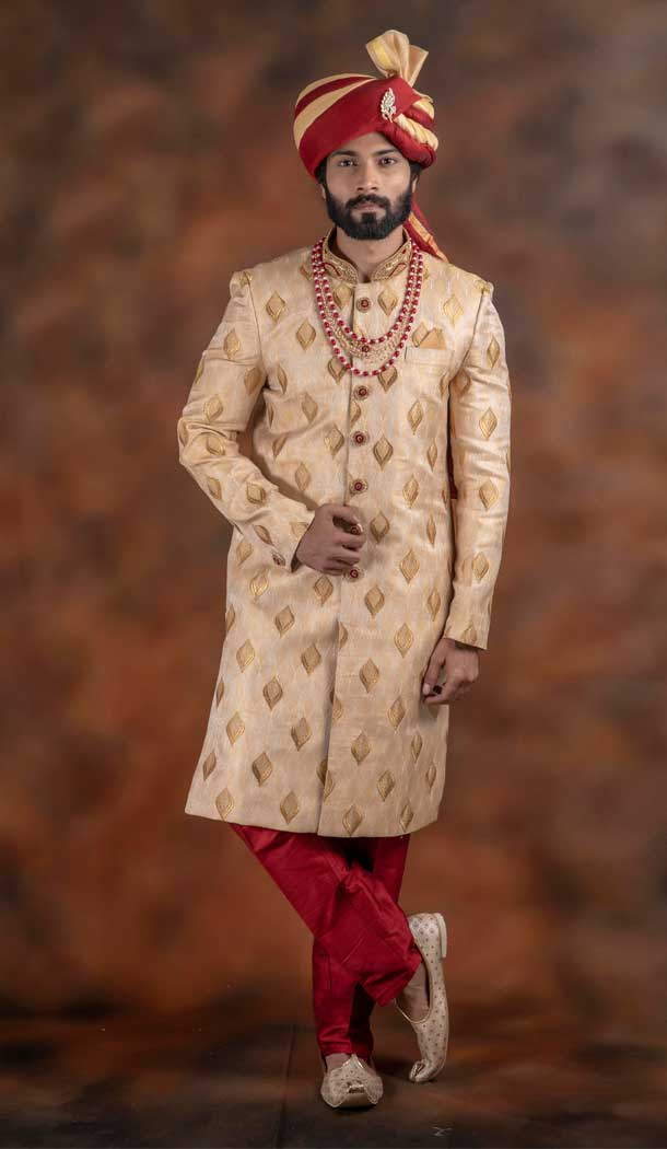 Alluring Gold Color Jacquard Designer Wedding Plus Size Men Sherwani -741991775