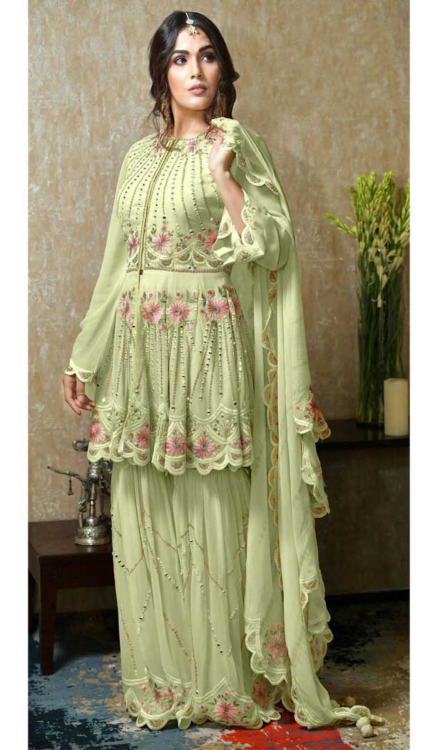 Lemon Green Color Heavy Faux Georgette Plus Size Sharara Suit -746392292