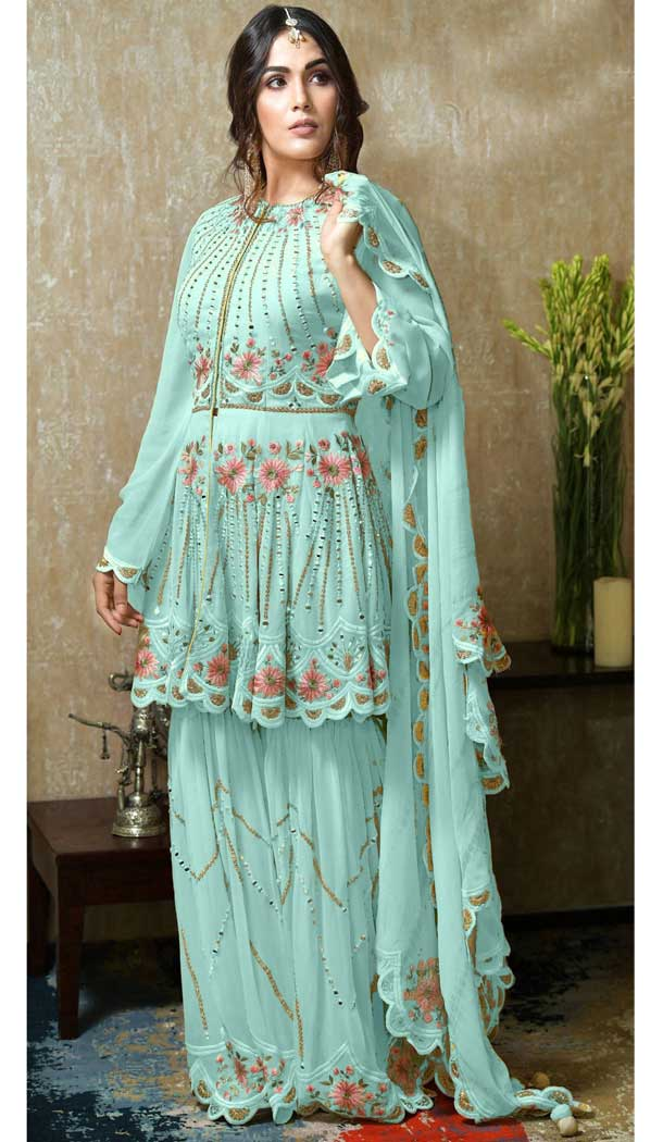 Sky Blue Color Heavy Faux Georgette Plus Size Sharara Suit -746392294