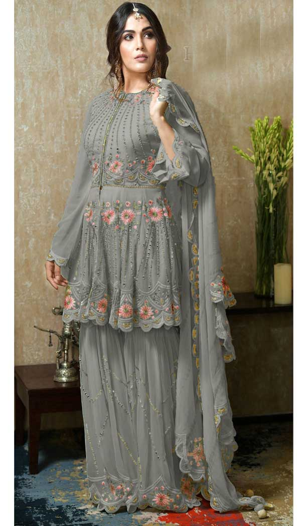Grey Color Heavy Faux Georgette Plus Size Sharara Suit -746392295