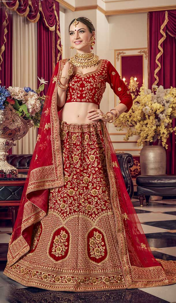 red velvet lehenga choli designs for wedding -752492767