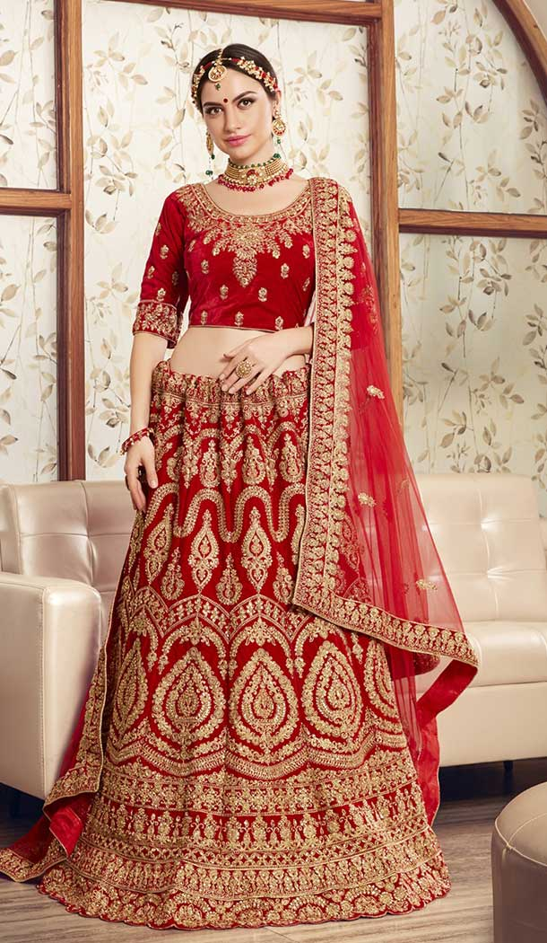 Alluring Red Color 9000 Velvet Designer Bridal Wedding Lehenga Choli -752492769