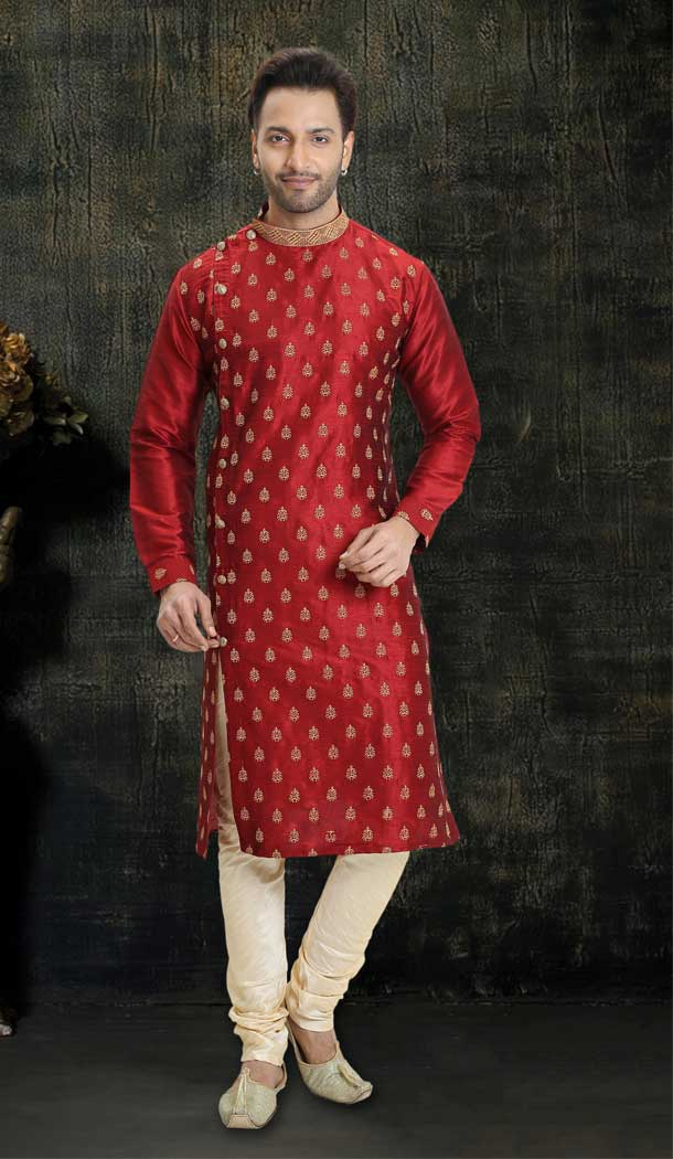 Alluring Red Color Dupion Silk Readymade Designer Men Kurta Pajama -755993245