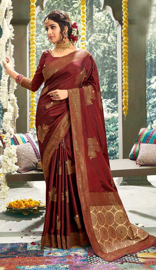 Captivating Maroon Color Cotton Party Wear Women Saree Blouse -762893895