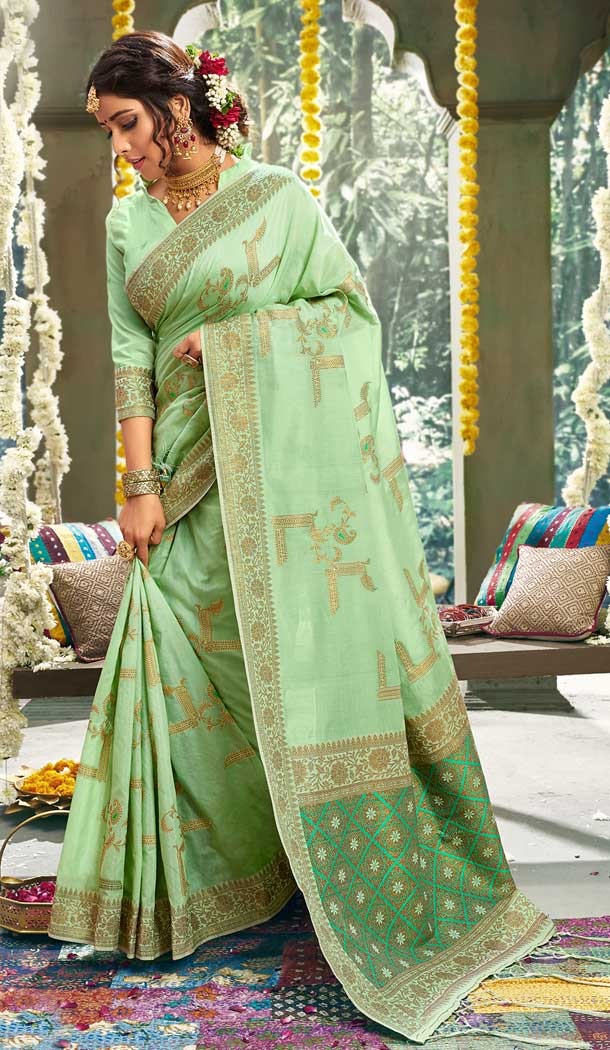 Chic Pista Green Color Cotton Party Wear Women Saree Blouse -762893896