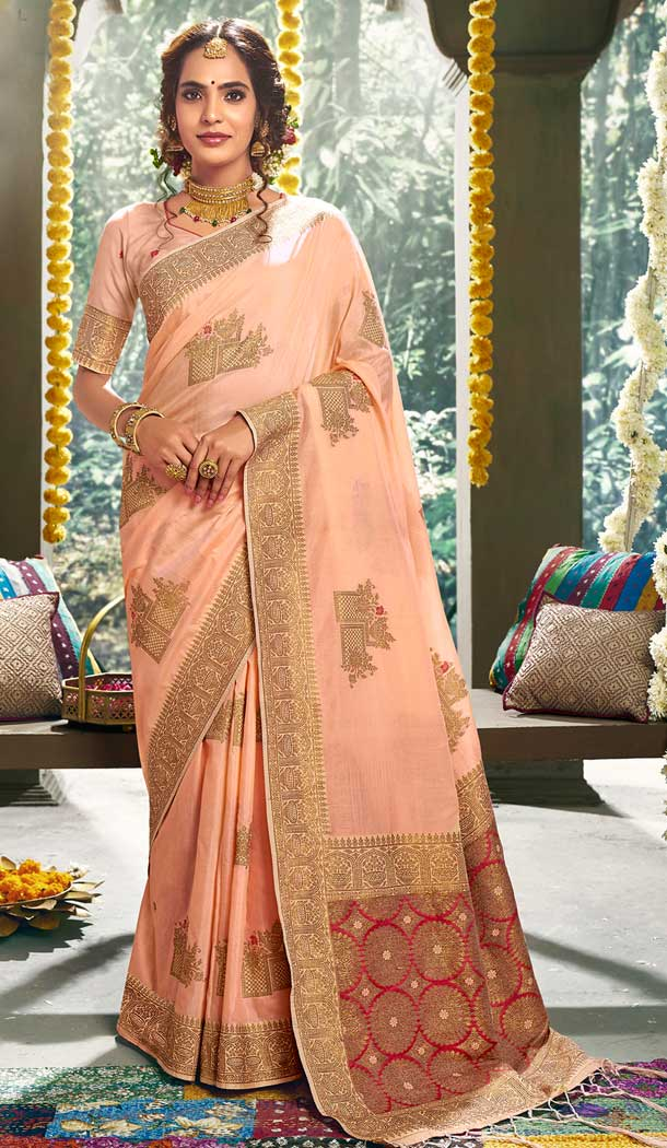 Baby Pink Color Cotton Party Wear Women Saree Blouse -762893900