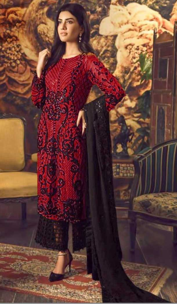 Red Color Foux Georgette Party wear Plus Size Palazzo Suit -764894118