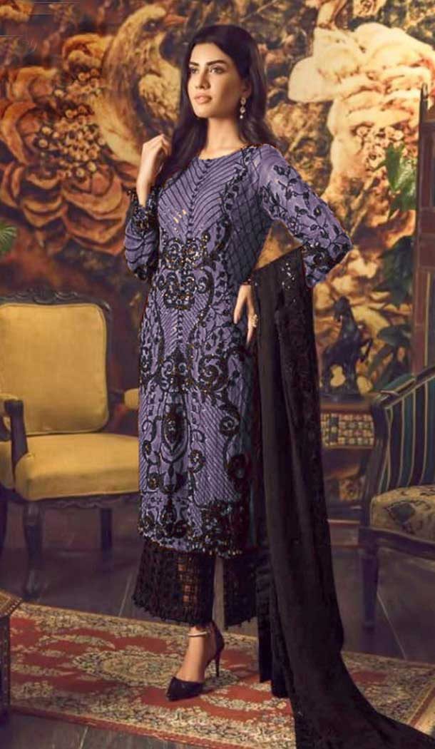 Blue Color Faux Georgette Party wear Plus Size Palazzo Suit -764894121