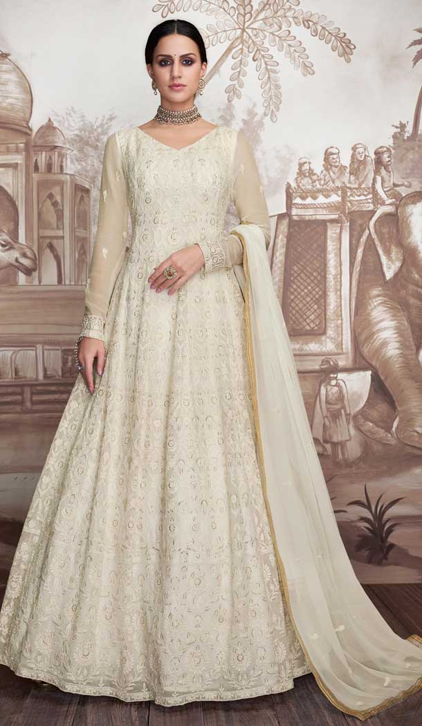 Off White Color Heavy Faux Georgette Designer Anarkali Suits -770094694