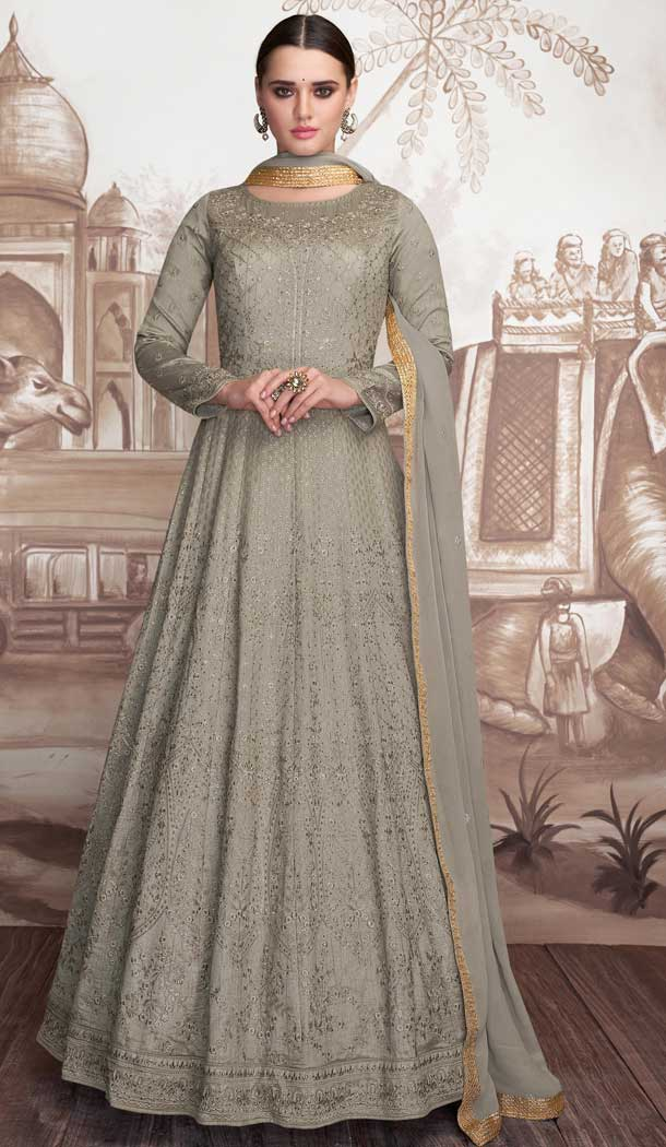 Grey Color Heavy Faux Georgette Designer Anarkali Suits -770094695