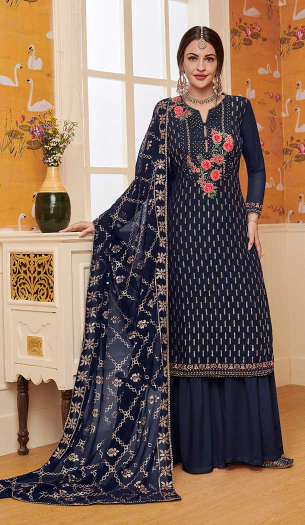 Navy Blue Color Foux Gourgette Party Wear Girl Palazzo Suits -771094763