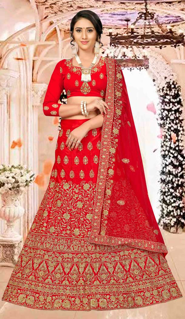 Adorable Red Satin Silk Traditional Wear Plus Size Lehenga Choli -767194380