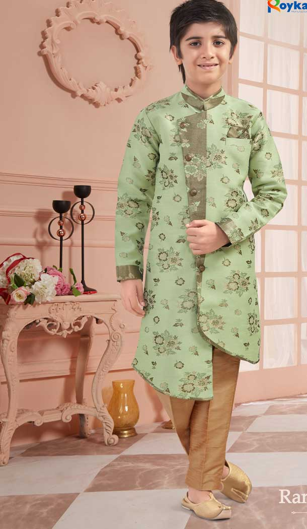 Pista Color Jacquard Readymade Kid Boys Kurta Pajama -VOL171715