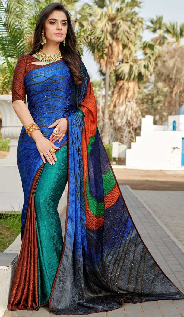 Adorning Multi Color Silk Crepe Jacquard Casual Wear Saree Blouse -764394086