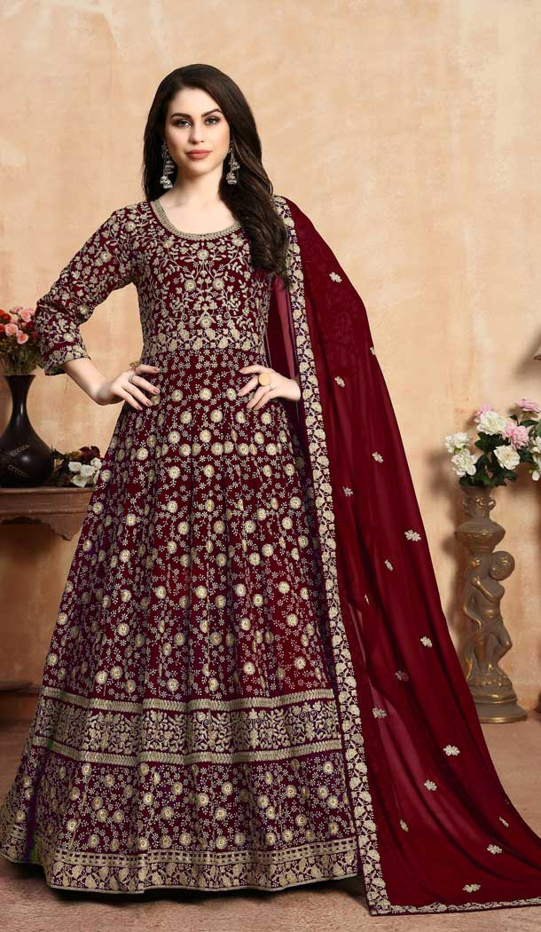 Maroon Color Faux Georgette Long Anarkali Salwar Kameez -767094376
