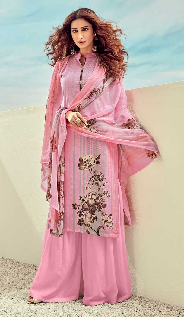 Light Pink Color Pure Lawn Cotton Casual Wear Palazzo Suit -768294567