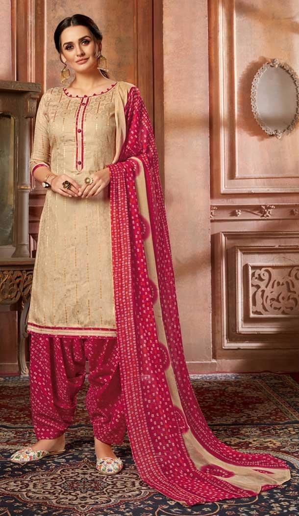 Gold Color Pure Zam Jacquard Punjabi Patiyala Salwar Suit -769894680