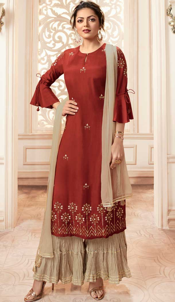 Maroon Color Viscose Rayon Drashti Dhami Readymade Sharara Suit -pf75225022