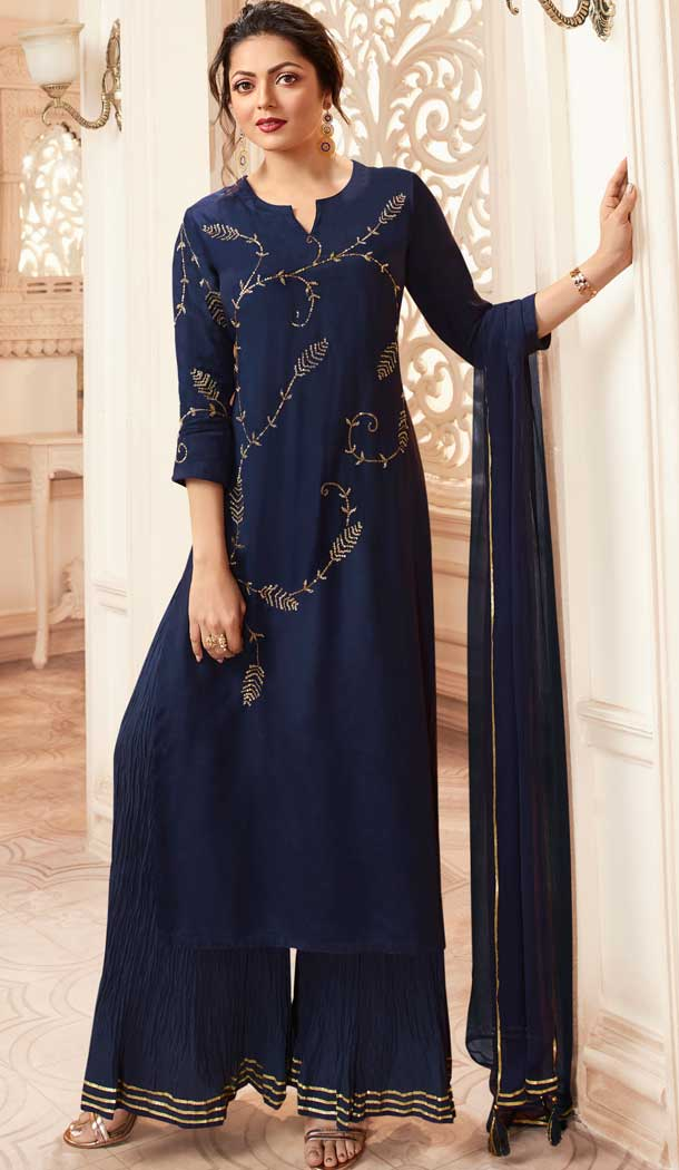 Navy Blue Color Viscose Rayon Drashti Dhami Readymade Sharara Suit -pf75225023