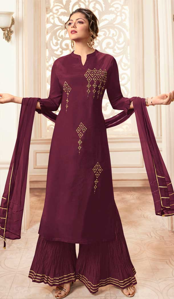 Wine Color Viscose Rayon Drashti Dhami Readymade Sharara Suit -pf75225024